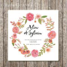 Faire-part de mariage Couronne de fleurs vintage