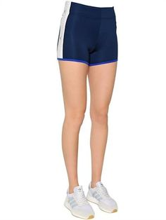 ADIDAS BY STELLA SPORT, Logo printed stretch shorts, Blue/white, Luisaviaroma - Logo printed side panels . Flatlock seams . Sample size: S