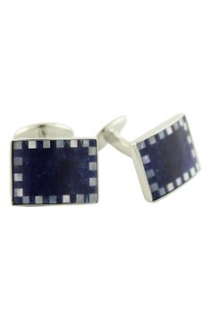 David Donahue Sterling Silver, Sodalite  Mother-of-Pearl Cuff Links