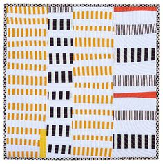 """Improvisational mini quilt by Red Pepper Quilts: """"It started with cutting strips of fabric without a ruler....  I realized that piecing a wonky patch was easy when working with wonky strips of fabric !"""""""