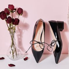 803cf6cd9f1 Lovely Black Dating Womens Shoes 2019 Patent Leather Bow 4 cm Thick Heels  Pointed Toe Low