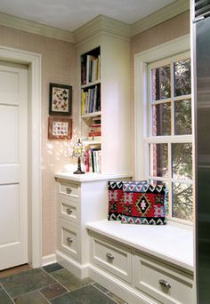 Windows With Book Sheves And Cabinetry Design Ideas, Pictures, Remodel, and Decor - page 5