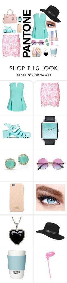 Pantone Beauty by dinyvia on Polyvore featuring beauty, Maybelline, Topshop, Dolce&Gabbana, Happy Plugs, Lord & Taylor, Nixon, City Chic, Glamorous and JuJu