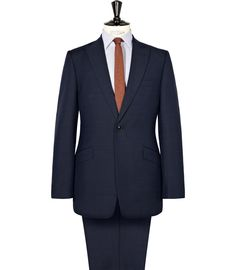 Nayland Navy One Button Textured Suit - REISS