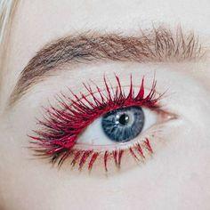 red mascara, wine color mascara makeup, raspberry red mascara,