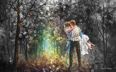 Leonid Afremov - LOVE LIGHT - Original, oil, painting, palette knife, impressionist, impressionism, surreal, surrealism, buy painting , purchase art, purchase painting, gallery