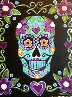 sugar skull painted on canvas #junkhippy