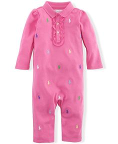 Ralph Lauren Baby Girls' Coverall $24.50 She'll love the soft feel of this cotton interlock coverall. You'll love its girlie ruffles and playful allover pattern of Ralph Lauren's signature embroidered pony at the front. Allover pattern of Ralph Lauren's signature embroidered pony at the front.