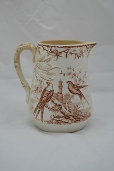 Antique Brown Transferware Pitcher Raised Designs