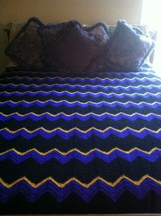 Queen Size:  Black, Purple and Gold Single Stitch Zigzag Blanket