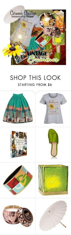 """Boho Vintage Summer Outfit"" by carmen-ireland ❤ liked on Polyvore featuring LC Trendz, Assouline Publishing, Gianvito Rossi, Hermès, vintage and plus size clothing"