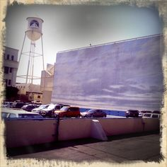 The Paramount Water Tower - I used to work in the building right next door.  This picture is of a parking lot that was painted blue and used as ocean/water scenes.  I heard the titanic movie used this.