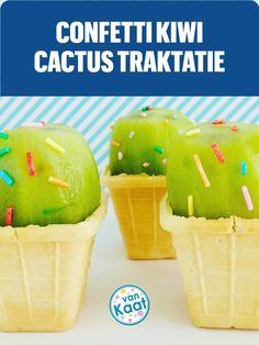 Gezonde traktatie die er door de confetti sprinkles toch vrolijk uitziet. Nog meer confetti traktaties en taarten voor op je kinderfeestje in mijn blog Kiwi, Confetti, Pudding, Desserts, Blog, Tailgate Desserts, Deserts, Custard Pudding, Puddings