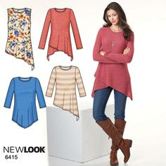 The asymmetric hemline gives this knit tunic a more edgy appeal! New Look pattern 6415.