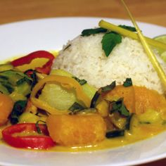 "Pumpkin Curry - a couple of substitutions: ""no-chicken"" broth and soy sauce for fish sauce"