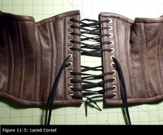 How to Make a Steampunk Corset [Picture of Inserting Grommets and Making the Laces]