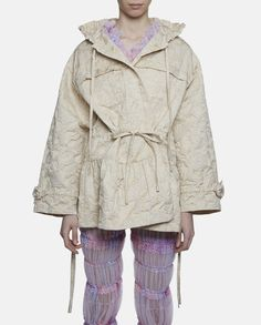 Cream Embossed With Flowers Parka by Ryan Lo SS16.