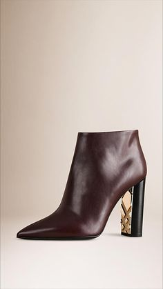 Dark tan Check Detail Leather Ankle Boots - Image 1