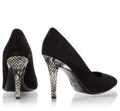 Vicini KIL Black suede leather pointy snake-print heel pumps