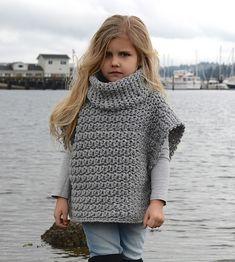 Aura Pullover Crochet pattern by The Velvet Acorn Crochet Pullover Pattern, Poncho Au Crochet, Pull Crochet, Knit Crochet, Children's Poncho, Patron Crochet, Baby Poncho, Free Crochet, Knitting For Kids