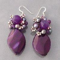 Drop Oval Purple Amethyst Pearl .925 Silver Earrings!