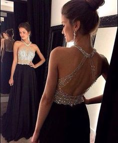 Elegant Halter Beading Black Backless Prom Dress Evening Gown