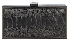 Naledi Copenhagen  Dark Grey Ostrich, oxy frame box clutch Style: NB30