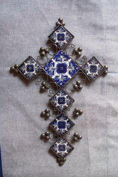 Mexican cross vintage look decor hand made by CrossCollectorStudio