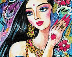 indian bride art beautiful Indian woman painting by EvitaWorks