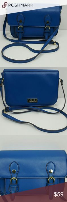 STEVE MADDEN Bright Blue Small Crossbody Handbag A Steven by Steve Madden bright blue small crossbody handbag with gold accents. In good used condition, very minimal wear.   Length 9 inches, Height 6 inches, Width 3 inches, Strap Drop 18 inches. Steven by Steve Madden Bags Crossbody Bags