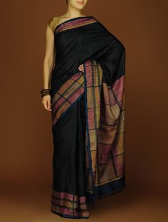 Buy Black Beige Silk Block Printed Saree Sarees A Class Apart Colorful and Dupattas Online at Jaypore.com