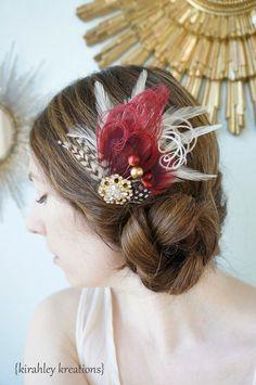 BURGUNDY FALL Peacock Feather Bridal Hair by KirahleyKreations