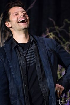 """Misha Collins - """"A Study in Laughter"""" - The result of Richard Speight Jr, Rob Benedict and Matt Cohen re-telling the tale of a short plane trip in Australia, which suddenly experienced massive turbulence… at a time Misha was in the toilet endeavouring to pee. photo credit :  https://monicad-photography.tumblr.com/"""
