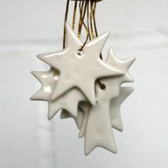 Limited Edition Stars 5 White Porcelain Decorations by joheckett