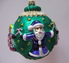 CHRISTOPHER RADKO CHRISTMAS SANTA ANGEL AROUND THE WORLD LARGE ORNAMENT GREEN