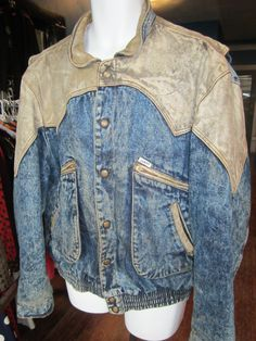 1980's Guess leather and denim jacket Marty McFly back to the future on Etsy, $85.00
