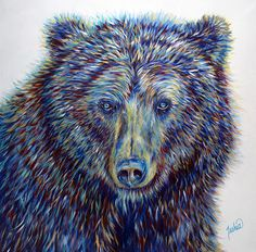 Colorful Contemporary Grizzly Bear Art Painting   Contemporary Western Wildlife Art by Animal Artist Teshia  Original Paintings & Art Prints www.TeshiaArt.com