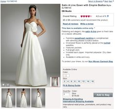 $179.00 Davids Bridal Satin A Line Gown with Empire Bodice