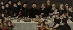 Master of the Moucheron-family portrait, Portrait of Pierre de Moucheron (1508-67) with his wife Isabeau de Gerbier, their 18 children and their son-in-law and their first grandchild, 1563 - Rijksmuseum Amsterdam