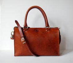 5a0af5e1f995 Items similar to Cognac Sophia Bag 12 inch - Handmade leather handbag on  Etsy