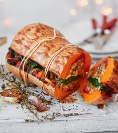 Prepare this stunning centrepiece to impress your vegan guests on Christmas day. Roasted butternut squash is loaded with chargrilled peppers, mushrooms, chestnuts and spinach. | Tesco Veggie Dishes, Vegetable Recipes, Vegetarian Recipes, Cooking Recipes, Healthy Recipes, Diet Recipes, Ella Vegan, Tesco Real Food, Le Diner