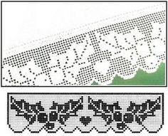 filet crochet eddging or valance - holly Thread Crochet, Crochet Trim, Irish Crochet, Crochet Lace, Filet Crochet Charts, Crochet Borders, Knitting Charts, Crochet Curtains, Crochet Doilies