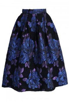 Phantom Roses Pleated Midi Skirt - Retro, Indie and Unique Fashion