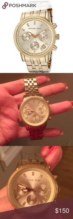 Michael Kors Women's Ritz Gold-Tone Watch Gently used. Slight scratches on bottom where wrist touches surfaces, nothing major. Battery is still functional, no additional links included. 100% AUTHENTIC!! Extra photographs available upon request. Im a 5⭐️ seller, so shop with confidence. No trades🚫, I offer 15% off on bundles 😉. Happy poshing!! 😀🌷.       Product Description Gold-Tone Stainless Steel Case & BraceletRound Bezel with Pave Crystal insetsChampagne Tone Dial With Crystal Stick…