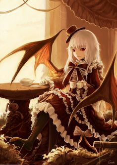 anime girl in lolita with wings
