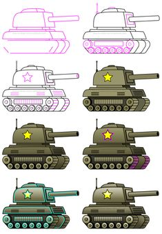 How to draw a cartoon tank #cartoontank #howtodraw #drawinglessons