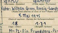 Günther Grass - SS-Vergangenheit Personalerfassungsbogen aus amerikanischer Kriegsgefangenschaft (c) DPA