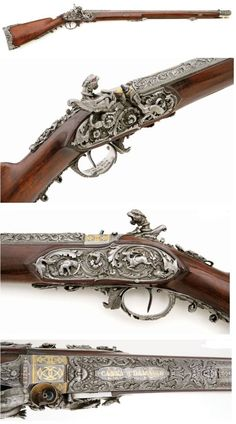 A heavily chisled and sculpted percussion rifle by Giacomo Rinzi of Milan, Italy, mid 19th century.