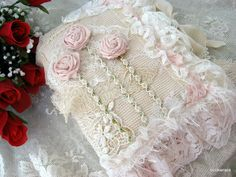 Lace and linen rose fabric journal