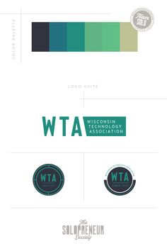 Brand identity design assets for Wisconsin Technology Association, inculding #colors, #logos, #fonts, #submarks, #pattern design, and #icons. Visit The Solopreneur Society today to eye-guzzle our full portfolio of brand identity suites and to learn how we can make you red carpet ready!